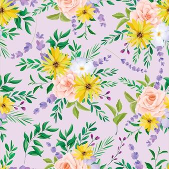 Mooi wild bloemen naadloos patroonontwerp
