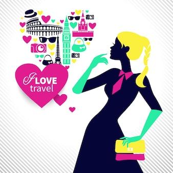 Mooi winkelend meisje droomt over reizen. hartvorm met reispictogrammen