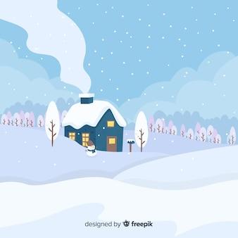 Mooi winterlandschap met een plat ontwerp