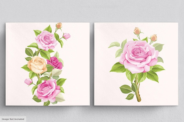 Mooi zacht roze boeket van handgetekende rozenillustraties