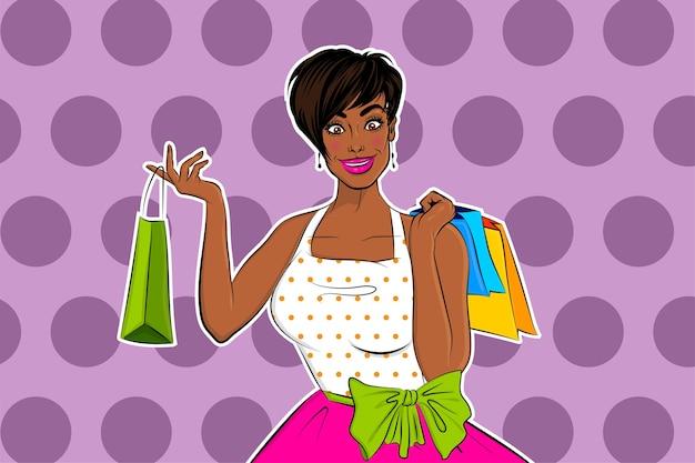 Mooi zwart afrikaans pop-artmeisje huisvrouw gaat winkelen.