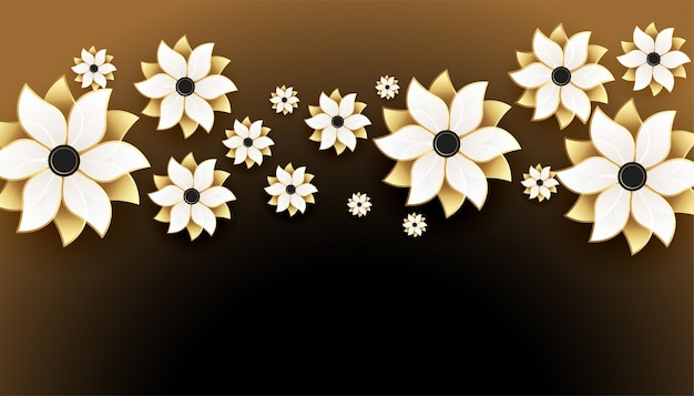 Mooie 3d gouden bloemen op zwarte achtergrond