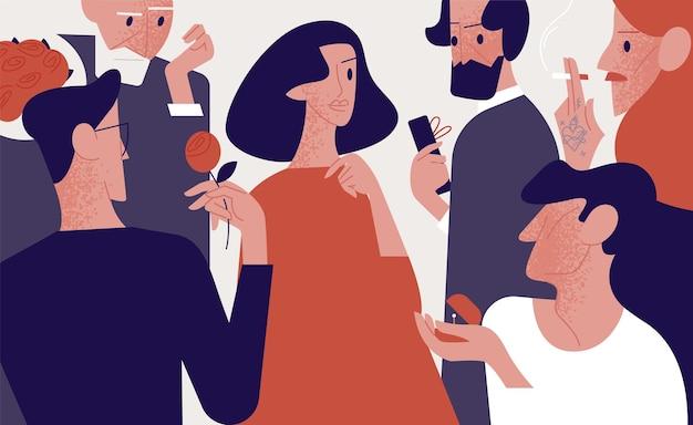 Mooie aantrekkelijke vrouw omringd door oude en jonge bewonderaars of vrijers die haar geschenken, bloemen geven, een huwelijk voorstellen. populariteit onder mannen. kleurrijke vectorillustratie in platte cartoon stijl.