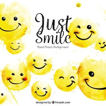 Mooie achtergrond met gelukkige emoticons in handgetekende stijl