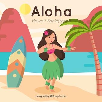 Mooie achtergrond met hawaiiaanse meid en surfplank