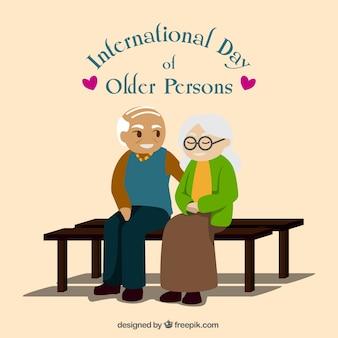 Mooie achtergrond van de bejaarde echtpaar