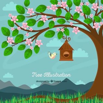 Mooie achtergrond van de boom met bloemen en vogels