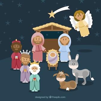 Mooie achtergrond van de kerststal