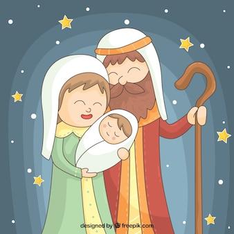 Mooie achtergrond van sterren met kerststal