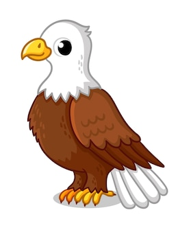 Mooie adelaar in cartoon-stijl op een witte achtergrond vectorillustratie met een schattige vogel