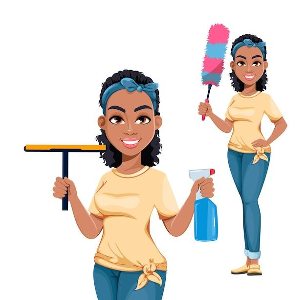 Mooie afro-amerikaanse huisvrouw, ingesteld als twee poses. leuke dame stripfiguur huishoudelijk werk doen. voorraad vectorillustratie