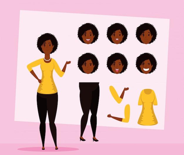 Mooie afro vrouw met set gezichten karakter vector illustratie ontwerp