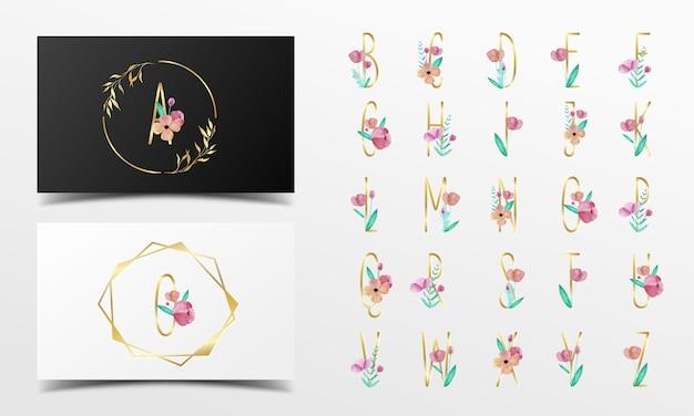 Mooie alfabetcollectie versierd met bloemenwaterverfstijl