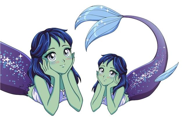 Mooie anime liegende zeemeermin. blauw haar, groene huid en glanzende violette vissenstaart.