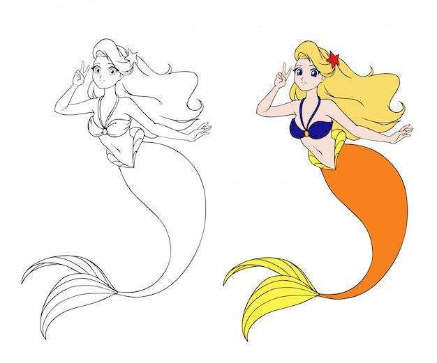 Mooie anime zeemeermin met een v-teken.