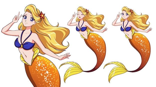 Mooie anime-zeemeermin met een v-teken
