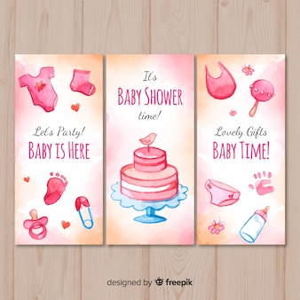 Mooie aquarel baby shower kaart collectie