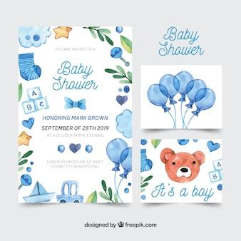 Mooie aquarel baby shower kaart collectie