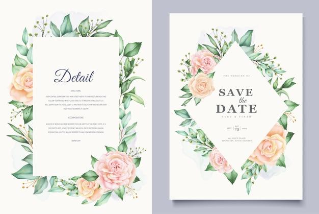 Mooie aquarel bladeren bruiloft kaartsjabloon