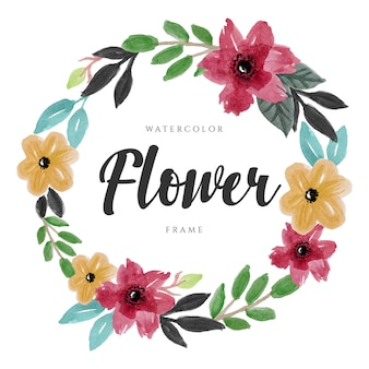 Mooie aquarel bloem bloemen krans ontwerp