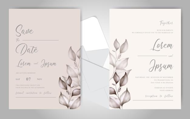 Mooie aquarel bloemen bruiloft uitnodiging kaarten sjabloon
