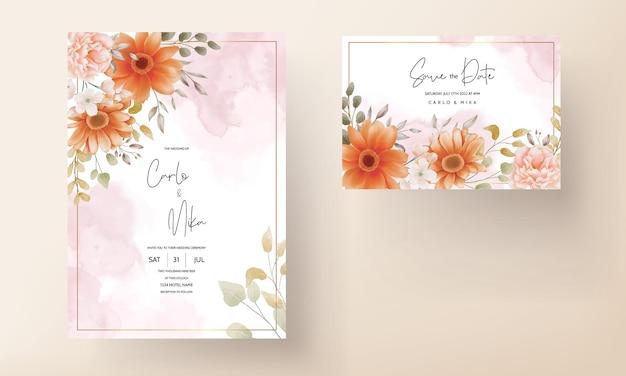 Mooie aquarel bloemen bruiloft uitnodiging kaartsjabloon ontwerp