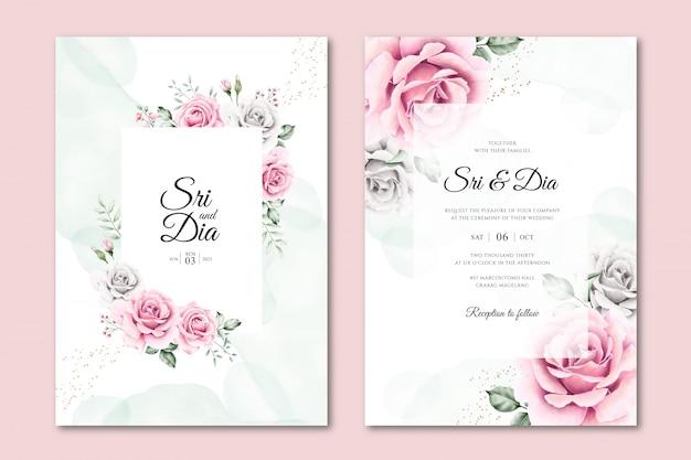 Mooie aquarel bloemen bruiloft uitnodiging sjablonen