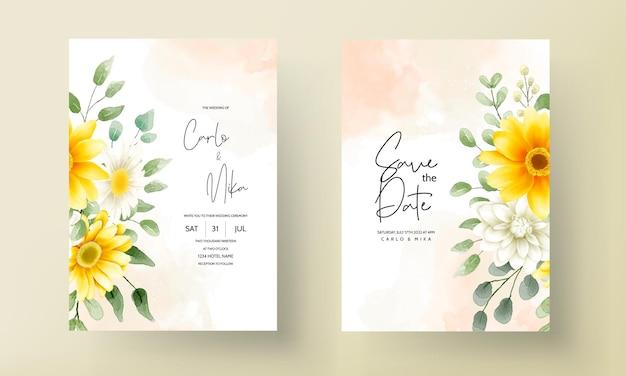 Mooie aquarel bloemen bruiloft uitnodigingskaart bloemdessin Gratis Vector
