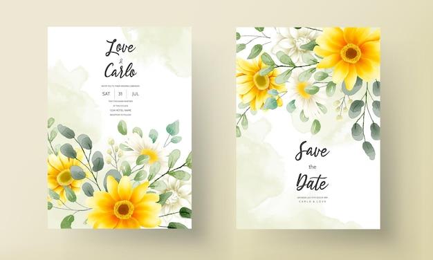 Mooie aquarel bloemen bruiloft uitnodigingskaart bloemdessin