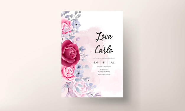 Mooie aquarel bloemen bruiloft uitnodigingskaart
