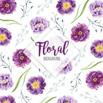 Mooie aquarel bloemen en bladeren patroon achtergrond