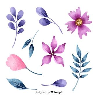 Mooie aquarel bloemen en bladeren