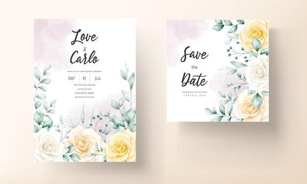 Mooie aquarel bloemen frame bruiloft uitnodigingskaart met zachte natuur