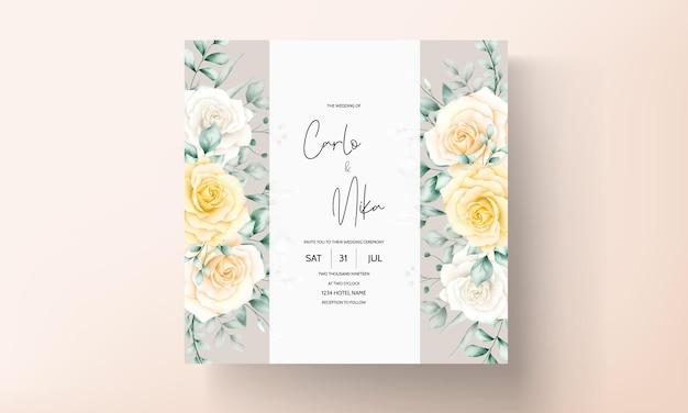 Mooie aquarel bloemen frame bruiloft uitnodigingskaart met zachte natuur Gratis Vector
