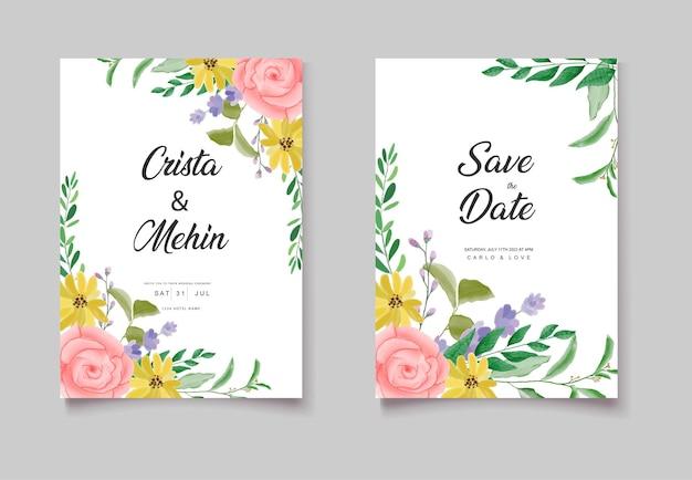 Mooie aquarel bloemenkaart voor huwelijksuitnodiging