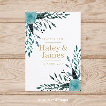 Mooie aquarel bruiloft kaart met florale stijl