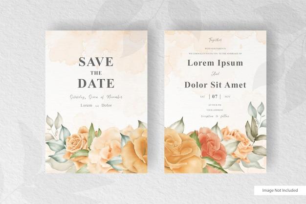 Mooie aquarel bruiloft kaartsjabloon ingesteld met bloemen en bladeren decoratie