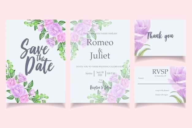 Mooie aquarel bruiloft uitnodiging kaartsjabloon bloemen