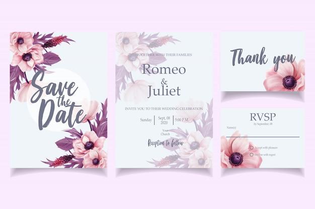 Mooie aquarel bruiloft uitnodiging kaartsjabloon roze