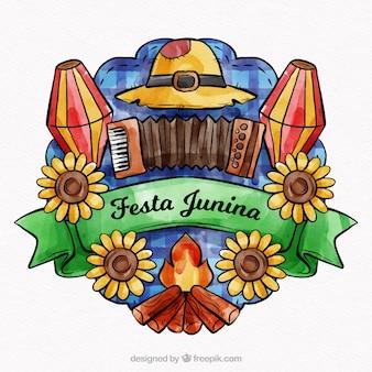 Mooie aquarel festa junina-compositie