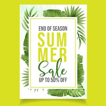 Mooie aquarel groene zomer verkoop banner
