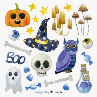 Mooie aquarel halloween element collectie