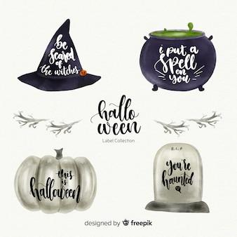 Mooie aquarel halloween label collectie