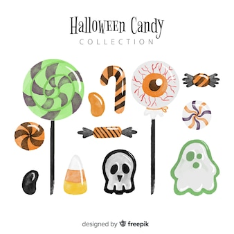 Mooie aquarel halloween snoep collectie