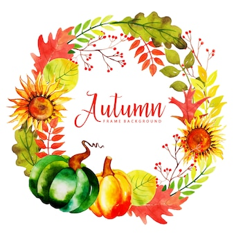 Mooie aquarel herfstbladeren krans
