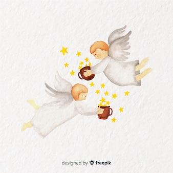 Mooie aquarel kerstmis engel paar achtergrond