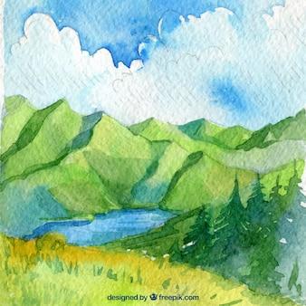 Mooie aquarel landschap met bergen en bewolkte hemel