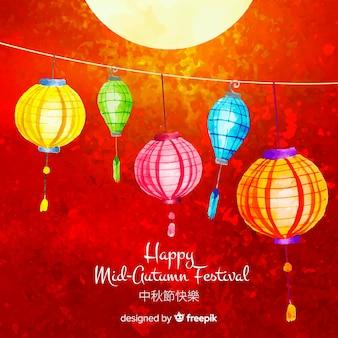 Mooie aquarel medio herfst festival samenstelling