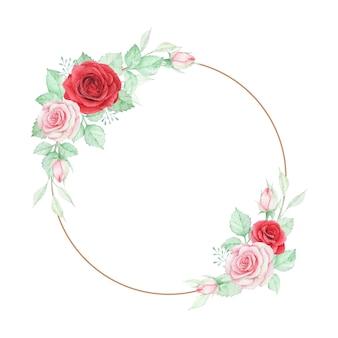 Mooie aquarel roos bloemen frame