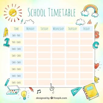 Mooie aquarel school tijdschema sjabloon